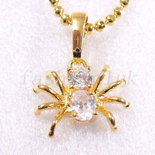 18K Yellow Gold Plated Simulated Diamond Incey Wincey Spider Chain Necklace