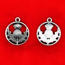 10 x Tibetan Silver Scottish THISTLE National Flower Charms Pendants
