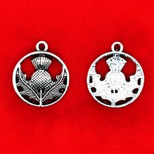 10 x Tibétain Argent Chardon Symbol of Scotland National Fleur Charms Pendentifs
