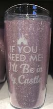 My Castle Pink Glitter Travel Cup Tumbler Disney Theme Parks NEW