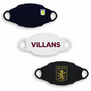 Kitbag Aston Villa Football 3 Pack Face Coverings - Black/White/Navy - Adult