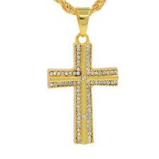 18K Gold Cross Religious Rhinestone Crucfix Pendant Necklace Mens Jewellery