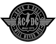 OFFICIAL LICENSED - AC/DC - ROCK N ROLL WILL NEVER DIE WOVEN SEW-ON PATCH ANGUS