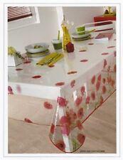 Nappe en plastique ronde 180 cm RED POPPY Coquelicots translucide