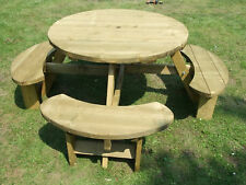 Round picnic table bench Winchester 1140mm table top, 38mm treated timber