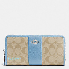 New Authentic Coach F54630 Accordion Zip Around Wallet Signature Cornflower Blue