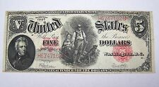 1907 Five Dollar $5 Woodchopper United States Note Legal Tender Red Seal Large