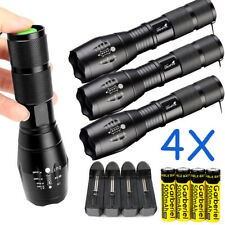 4x Tactical Police 15000LM T6 LED Zoomable 5 Mode Flashlight+18650+Smart Charger