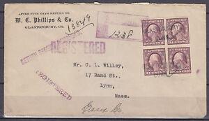 345 - IMPERF BLOCK w 4 MARGINS on 1912 CT to MA - REGISTERED Cover - SCARCE ITEM