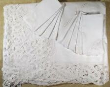 AWESOME HAND DONE TAPE LACE TABLECLOTH W/8 NAPKINS 70X90 IN PACKAGE NEVER USED!