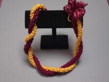 Hawaiian Rattail Ribbon Lei Maroon Gold Graduation
