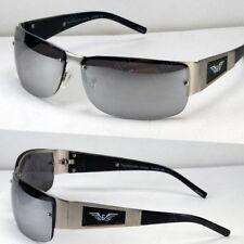 New Mens Rectangular Mirrored Lens Sunglasses Shades Wrap Sport Designer Fashion