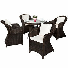 Aluminium salon de jardin 4x chaise 1x table résine tressée osier poly rotin bru