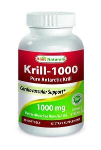Best Naturals Krill Oil 1000 mg 2x Strength 30 Softgels
