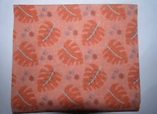 Fat Quarter  Peach with Coral Leaves Fabric