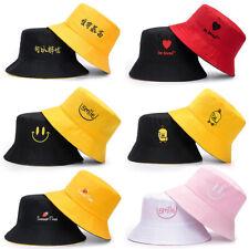 US Double-sided Bucket Hat Fisherman's Cap  Men Women Embroidery Pattern Cotton