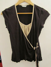 New Look Stretchy Brown & Beige Wrap Look Top in Size 14