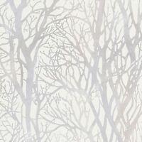 Arbre Branches Papier Peint Blanc et Argenté - as creation 300941 Forêt