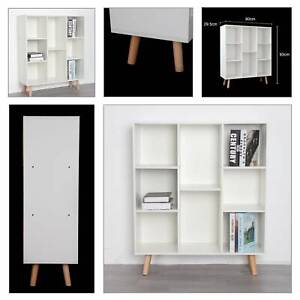 White 8 Cube Storage Bookcase Display Shelving Free Standing Unit with Wood Legs
