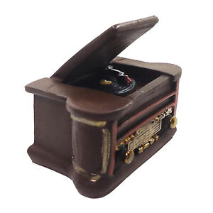 Antique 1/6 Scale Miniature Dolls House Resin Record Player Music Instrument