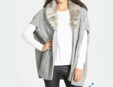 Nordstorm Womens Free Flow Black Grey Chunky Knit Sweater Vest With Fur Collar