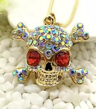 Betsey Johnson Necklace SKULL Gold RED PIRATE GOTH HALLOWEEN