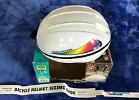 ADULT BIKE HELMET SM/MED White w/ RAINBOW Headwinds Cycle Products - NEW