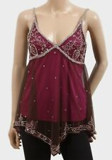Womens Camisole Top Size 12 New Plum Purple Sequinned Beaded Evening style