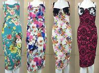 Womens Sleeveless Strappy Floral Neon Ladies Celeb Bodycon Midi Dress Size 8-26