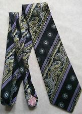 Lynx Neckwear Vintage amplia Tie Retro 1970s 1980s Negro Amarillo Lila Paisley
