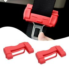 2pcs Red Car Safety Seat Belt Adjuster Buckle Anti-Scratch TPU Protective Case