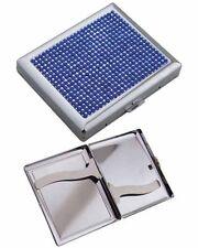 Metal Cigarette Case King Size Blue Jeweled Gift Box C887