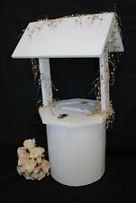 Wedding Wishing Well - Wooden Timber Round White Engagement Large Card Keeper