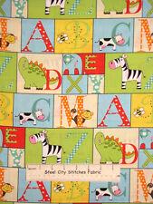 Baby Fabric -  A To Zoo Nursery Animal Alphabet Yellow Babies Room - YARD