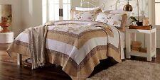 Cannon Kyran Cotton Quilt Bedspread Full/Queen Jacobean Floral Print Gold/Brown
