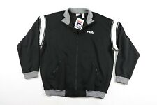 Vintage 90s New Fila Mens XL Spell Out Full Zip Striped Track Jacket Black White