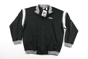 NOS Vintage 90s Fila Mens XL Spell Out Full Zip Striped Track Jacket Black White