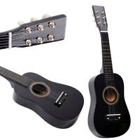 """New 23"""" 15 Frets Plywood Toy 6 Strings Practice Children's Acoustic Guitar Black"""