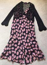 Planet Silk Black Pink Floral Dress Black Knitted Cardigan UK 14