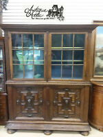 "18th Century English Oak Massive Cupboard w Upper Bookcase H91"" x W 72"" x D 24"""