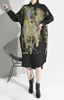 Urban Street Chic Black Grey Floaty Long Edgy Arty Loose  Blouse Shirt Dress 16