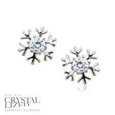 SNOWFLAKE Swarovski Elements Crystal 18-KRGP White Gold Plated Stud Earrings