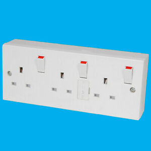1 to 3 Gang Fused Switched 13A Triple 3Pin Mains UK Wall Converter Socket Outlet
