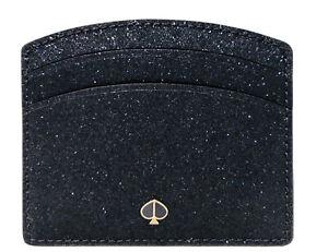Kate Spade Burgess Court Glitter Card Holder Wallet Case Lake Blue Navy New $50