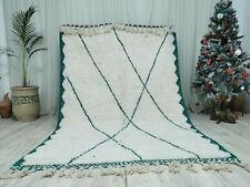 "Handmade Moroccan Beni Ourain Rug 5'5""x8'2"" White and Green Wool Carpet Marocan"
