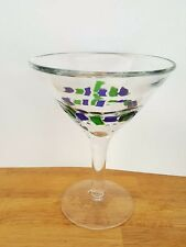 "Clear Crystal Mosaic Cobalt Blue & Green Tiles on Clear Martini Glass 6 "" Tall"