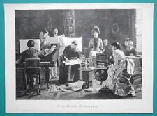 VILLAGE BAND Rehearsal Piano Ladies Singing - VICTORIAN Era Engraving Print