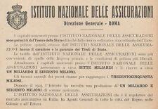 Z1583 Istituto Nazionale delle Assicurazioni - Pubblicità d'epoca - 1926 Old ad