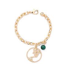 Bracelet Doré Charme Perle Malachite Vert Grenouille Retro Mariage CT9