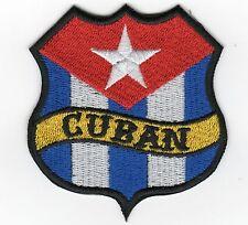 CUBAN FLAG SHIELD BIKER PATCH